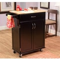 TMS Kitchen Cart With Wood Top, Black/Natural
