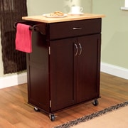 TMS Kitchen Cart With Wood Top, Espresso/Natural