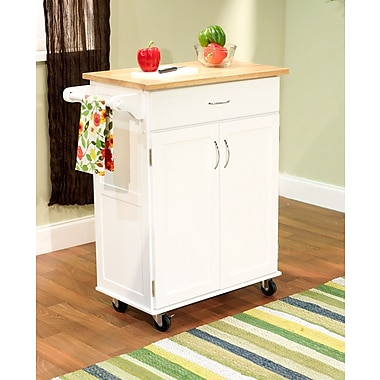 TMS Kitchen Cart With Wood Top, White/Natural