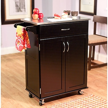 TMS Kitchen Cart With Stainless Steel Top, Black