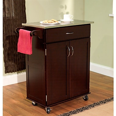 TMS Kitchen Cart With Stainless Steel Top, Espresso