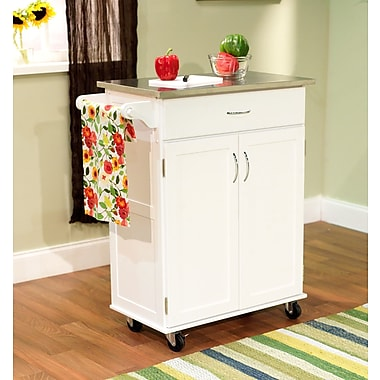 TMS Kitchen Cart With Stainless Steel Top, White