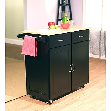 TMS Large Kitchen Cart With Wood Top, Black/Natural
