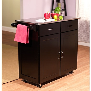 TMS Large Kitchen Cart With Stainless Steel Top, Black