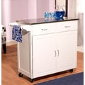 TMS Large Kitchen Cart With Stainless Steel Top, White