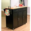 TMS Extra Large Kitchen Cart With Wood Top, Black/Natural
