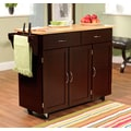 TMS Extra Large Kitchen Cart With Wood Top, Espresso/Natural
