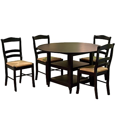 TMS Paloma 30 3/4in. x 48in. x 26in. Rubberwood 5 Piece Dining Set, Black