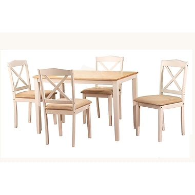 TMS Mason 29in. x 45in. x 28in. Rubberwood 5 Piece Crossback Dining Set, White