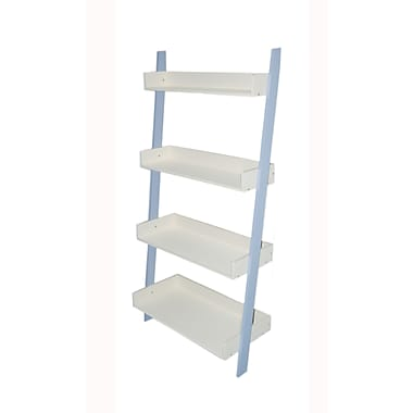 TMS Solid Wood/MDF Kids 4-Tier Shelf, Sky Blue/White