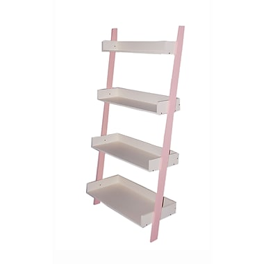 TMS Solid Wood/MDF Kids 4-Tier Shelf, Soft Pink/White