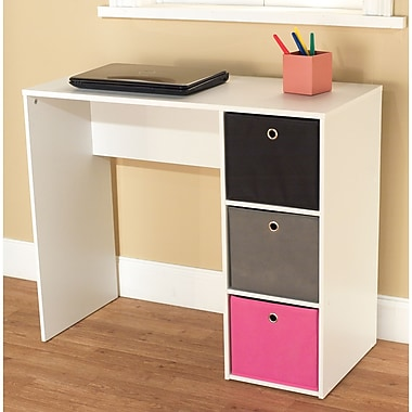 TMS Engineered Wood Writing Desk With 3 Bins, White/Pink