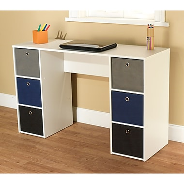 TMS Engineered Wood Writing Desk With 6 Bins, White/Blue