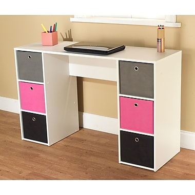 TMS Engineered Wood Writing Desk With 6 Bins, White/Pink