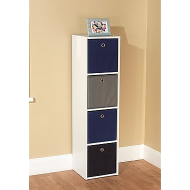 TMS Wood White Storage Case With 4 Fabric Bins, Blue/Black/Gray
