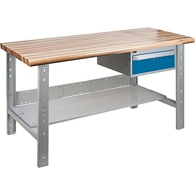 KLETON Workbench, Laminated Wood Top, Open Style, Lower Shelf, 1 Drawer