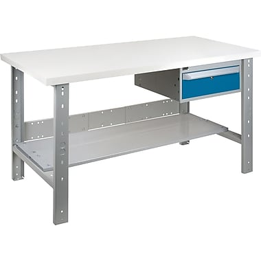 KLETON Workbench, Plastic Laminate Top, Open Style, Lower Shelf, 1 Drawer