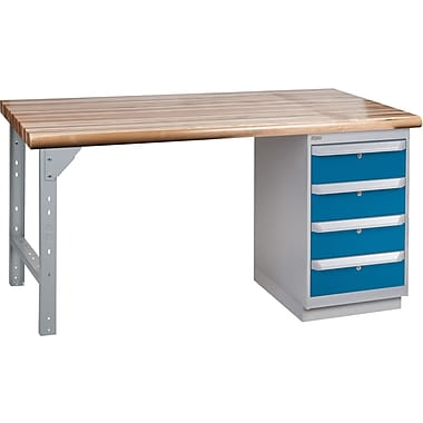 KLETON Workbench, Laminated Wood Top, 1 Pedestal, 4 Drawers