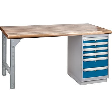 KLETON Workbench, Laminated Wood Top, 1 Pedestal, 6 Drawers
