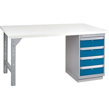 KLETON Workbench, Plastic Laminate Top, 1 Pedestal, 4 Drawers