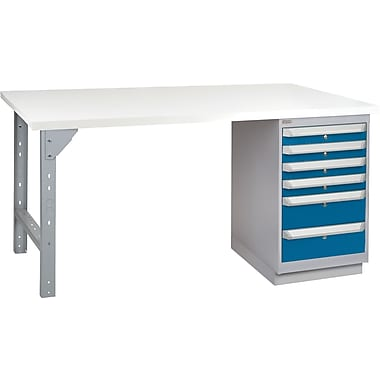 KLETON Workbench, Plastic Laminate Top, 1 Pedestal, 6 Drawers