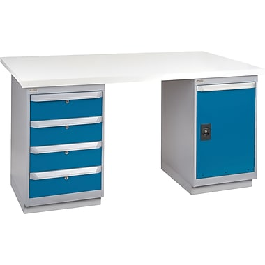 KLETON Workbench, Plastic Laminate Top, 2 Pedestals, 4 Drawers, Full Door Cabinet