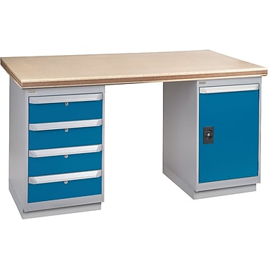KLETON Workbench, Shop Top, 2 Pedestals, 4 Drawers, Full Door Cabinet