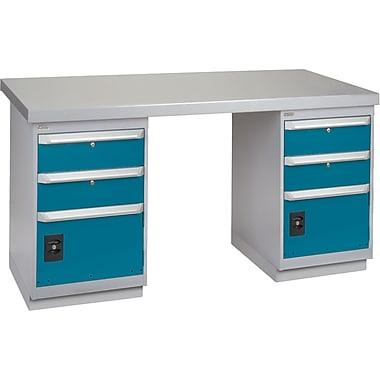 KLETON – Établi, surface en bois recouvert d'acier, 2 piédestaux, 2 tiroirs et 1 porte, 2 tiroirs et 1 porte