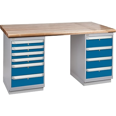 KLETON Workbench, Laminated Wood Top, 2 Pedestals, 6 Drawers, 4 Drawers