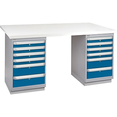 KLETON Workbench, Plastic Laminate Top, 2 Pedestals, 6 Drawers, 6 Drawers