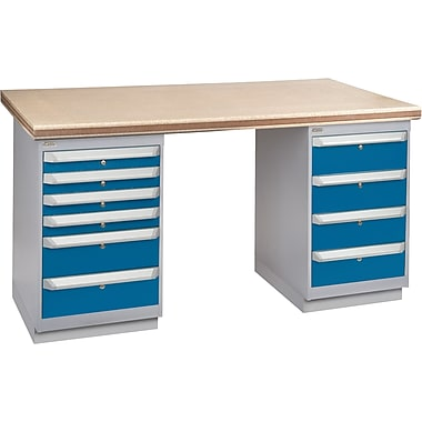 KLETON Workbench, Shop Top, 2 Pedestals, 6 Drawers, 2 Doors