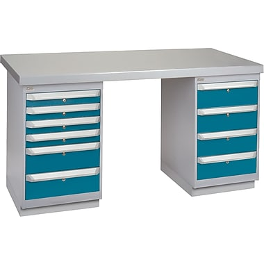 KLETON Workbench, Wood Filled Steel Top, 2 Pedestals, 6 Drawers, 4 Drawers