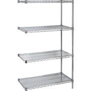 """KLETON Chromate Wire Shelving, 4 Shelves, 14""""D. x 63""""H."""
