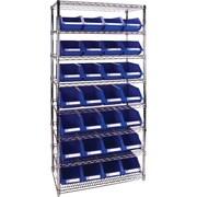 "Kleton Wire Shelving Units With Storage Bins, 36""W. x 14""D. x 74""H., 28 Bins, 1 Bin Size"
