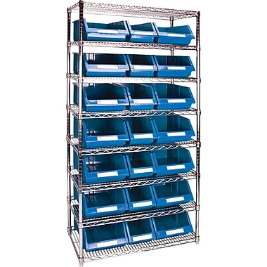 Kleton Wire Shelving Units With Storage Bins, 36