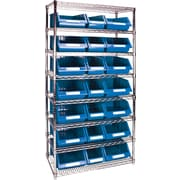 "Kleton Wire Shelving Units With Storage Bins, 36""W. x 18""D. x 74""H., 21 Bins, 2 Bin Sizes"