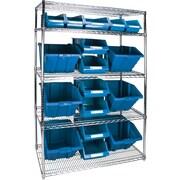 "Kleton Wire Shelving Units With Storage Bins, 48""W. x 24""D. x 74""H., 17 Bins, 3 Bin Sizes"