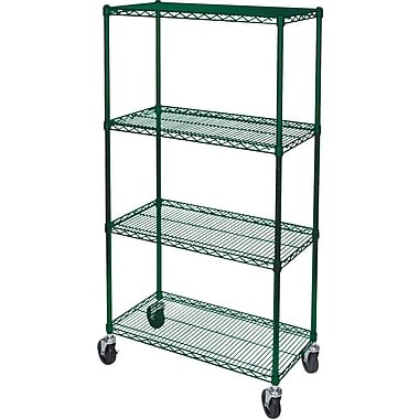 Kleton Green Epoxy Finish Wire Shelf Carts, 4 Shelves, 24