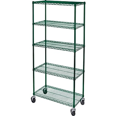 Kleton Green Epoxy Finish Wire Shelf Carts, 5 Shelves