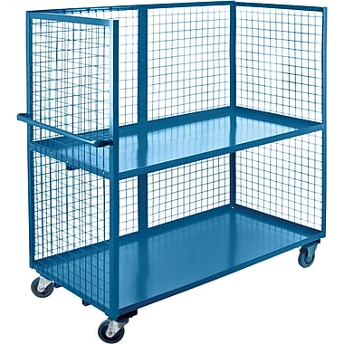 KLETON Wire Mesh Utility Carts, Three-Sided, 2 Shelves, 5