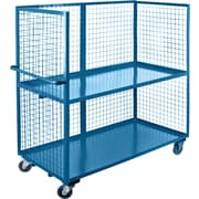 """KLETON Wire Mesh Utility Carts, Three-Sided, 2 Shelves, 5"""" Non-Marking Rubber Caster"""