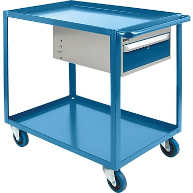 KLETON Heavy-Duty Shelf Cart With Drawer, 2 Shelves