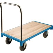 "KLETON Heavy-Duty Platform Trucks, 8"" Mold-on Rubber Casters, Wood Deck, Standard Corner"