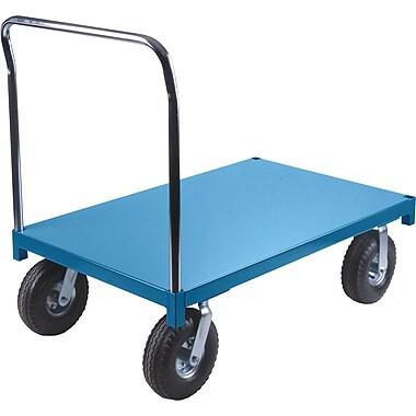 KLETON – Chariot à plateforme robuste, roulettes pleines pneumatiques de 10 po, plateforme en acier, roulettes aux coins