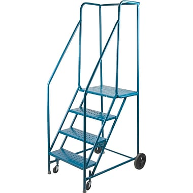 KLETON Rolling Step Ladders, With Spring Loaded Front Casters and Handrails