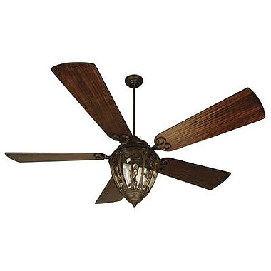 Craftmade 70'' Olivier 5 Blade Ceiling Fan w/Wall Remote; Aged Bronze w/Hand-Scraped Walnut Blades