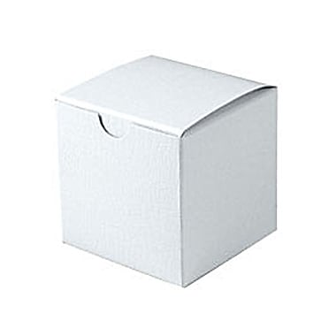 Shamrock 3in. x 3in. x 3in. White Alligator Embossed Tuck-It 1 Piece Folding Gift Box, White