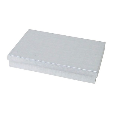 Shamrock 8in. x 5 1/2in. x 1 1/4in. Linen Foil Jewelry Box, Silver