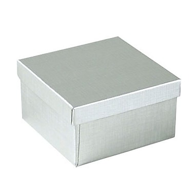 Shamrock 3 1/2in. x 3 1/2in. x 2in. Linen Foil Jewelry Box, Silver