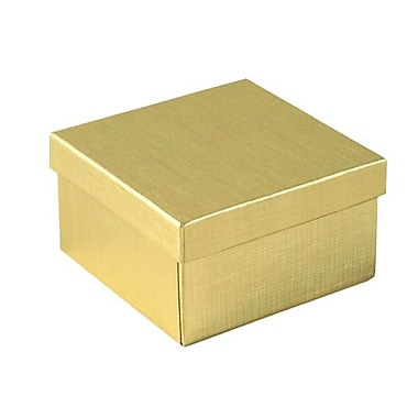 Shamrock 3 1/2in. x 3 1/2in. x 2in. Linen Foil Jewelry Box, Gold